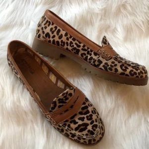 Sperry Leopard Hayden Penny Loafer Calf Hair 8